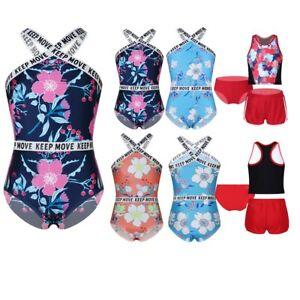 Kind Mädchen Tankini Bikini Badeanzug Blumendruck Rashguard Bademode Badeanzüge