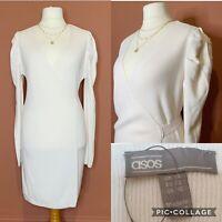 ASOS Cream Knit Wrap Dress UK14 NEW Puff Sleeve  Ribbed