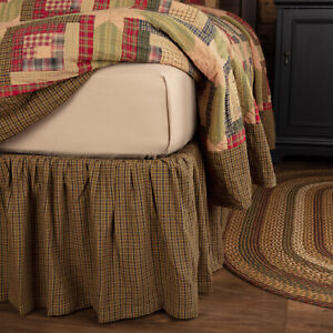 """VHC Brands Tea Cabin Rustic King Bed Skirt Green Chartreuse Navy Plaid 78x80x16"""""""