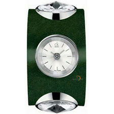 CALVIN KLEIN NIGHT SILVER DIAL DARK GREEN LEATHER WOMEN'S WATCH K4623126 NEW