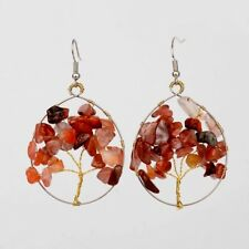 1 Round Pair of Red Agate Tree of Life Gemstone Chips Dangle Earrings #904