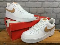 NIKE UK 6 EU 40 AIR FORCE 1 07 LV8 WHITE TAN REMOVABLE SWOOSH TRAINERS T MENS