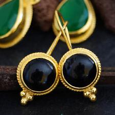 925k Silver Handmade Black Onyx Earrings 24k Gold Vermeil Omer Turkish Jewelry