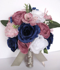 17 piece Wedding Bouquet package Bridal Silk Flowers PINK NAVY MAUVE DUSTY BLUSH