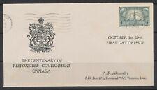 1948 Canada FDC 1848-1948 Victoria & George VI Centenary Responsible Gov't #277