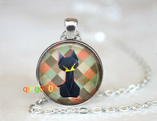 Origami black cat glass dome Tibet silver Chain Pendant Necklace wholesale