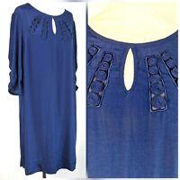 Monsoon Navy blue Below Knee Length 3/4 Sleeve Dress 14 RRP £59