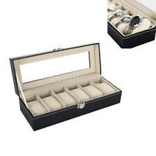 Watch Box 6 Men Black Leather Display Glass Top Jewelry Case Organizer Gift X2L3