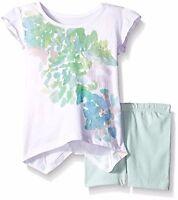 NWT 2 Set of BURT'S BEES baby Girl Organic Floral Tee & Bike Shorts Succulent 4T