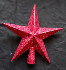 Deep Red Christmas Tree Star Topper Glitter finish top of tree REDUCED TO CLEAR