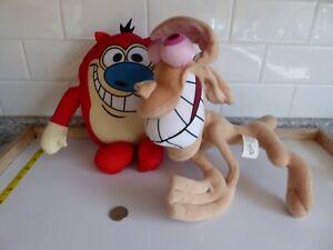 "12"" STIMPY Nickelodeon & 16"" REN wired Plush Spike first Network 2004 Sababa Toy"
