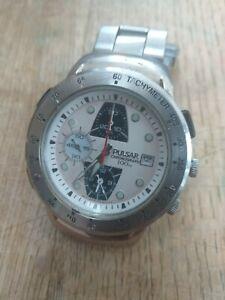 Vtg Seiko Pulsar NASA watch chrono alarm pilot tachymeter Y182-6D10 panda ss