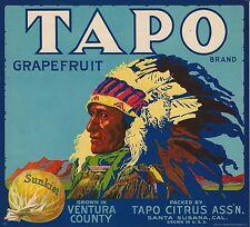 "RARE VINTAGE 1930 LITHO ""TAPO BRAND"" SANTA SUSANA CALIF GRAPEFRUIT BOX LABEL ART"