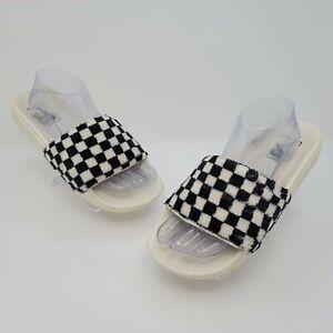 Vans Mens Black White Sherpa Checkerboard Slides Sandals Size US 8 500383