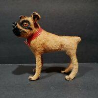 Wagner Kunstlerschutz Boxer Dog Flocked Red Collar Animal Figure Vintage 1966-83