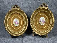 Vintage Pair PORCELAIN CAMEOS in Gold Victorian Molded Picture Frame on Velvet