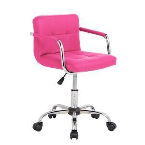 REFURBISHED Cushioned Computer Office Desk Chair Chrome Legs Lift Swivel