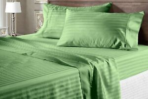 100% Cotton Glamorous Moss Sheet Collection Striped 1000 TC Select Item & Size