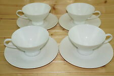 """Rosenthal Classic Modern White Set of (4) Cups, 2 1/2"""" & (4) Saucers, 6 1/2"""""""