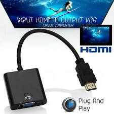 NEW HDMI to VGA Video Cable Converter Adapter SVGA RGB HDTV 1080P PC PS3 XBOX UK