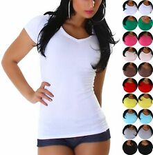 Mujer Camiseta Largo Cuello Redondo Pico Delgado Ajustado 32 34 36 38 40 Xs S M