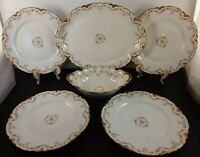 Theodore Haviland Limoges France 6 Piece Dinner Set Pink Rose, Gold Trim