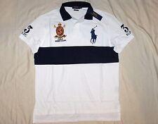 POLO RALPH LAUREN Custom Fit BIG PONY Mesh Polo Shirt, Crest, White, Navy MEDIUM