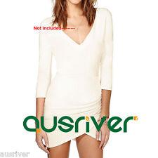 New Women's 3/4 Sleeve Cream Dress V Neck Above Knee Mini Dress Asymmetrical