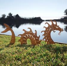 Garden Sculpture Sea Serpent Dragon, Metal Lawn Yard Art, Outdoor Decor Handmade