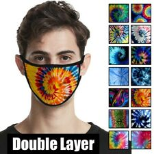Reusable Washable Tie Dye Pattern Double Layer Ice Silk Cloth Face Mask Covering