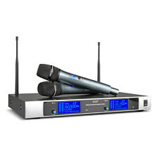 UHF Wireless Microphone System 2 Channel 2 Cordless Handheld Mic Karaoke Stage