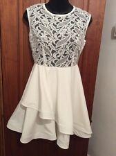 BNWOT Beautiful Ecru Lace Top Mini Dress Small ASSYMETRIC Skater Skirt