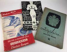 LOT OF 3 ANTIQUE 1930'S ERA FRIGIDAIRE, CROSLEY & UNIVERSAL APPLIANCE MANUALS