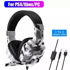 For PS4 Gaming Headset Noise Cancelling Loud-Sound Headphone with Mic Deep-Bass