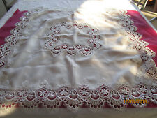 MOST BEAUTIFUL SMALL WHITE CLOTH LOVELY LACE EDGING WITH 2 MATCHING MATS