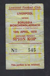 Football Ticket Liverpool v Borussia Monchengladbach European Cup S-Final 1978
