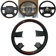 Black Leather Wood Steering Wheel Cover for 2004-2008 Ford F150 FX4 SuperCrew