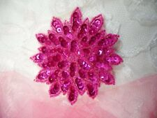 "Fuchsia Sequin Applique Floral Beaded Iron on Patch Crafts DIY 3"" (XR364)"