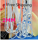 5pcs Fashion Silver 925 2mm Snake Chain Necklace For Eur Bead Pendant Jewelry