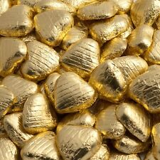 500g Bag Approx 100 GOLD Chocolate Foiled Hearts Luxury Wedding Favours