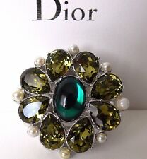 CHRISTIAN DIOR EMBELLISHED FLOWER  METAL,CRYSTAL RING SIZE 6