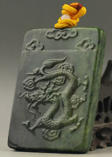 Old China natural hetian green jade hand-carved dragon pendant NO.C933