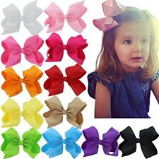 6 Inch Hair Bows Big Large Ribbon Boutique Clips For Girls Kids Set Of 12