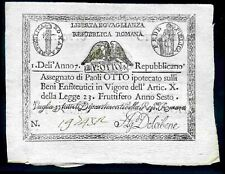 Repubblica Roma, Eight Paoli, (1798), Good Extremely Fine.