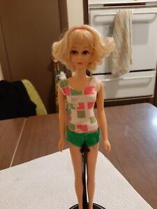 Vintage Mattel Barbie Blonde Flip Curl Francie Doll in Swimsuit