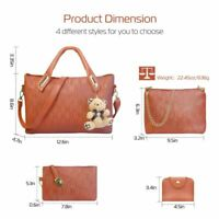 4Pcs/Set Women Lady Leather Handbags Messenger Shoulder Bags Tote Satchel Purse