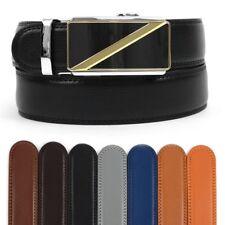 Men's Leather Ratchet Belt with Golden Diagonal Automatic Buckle (MGLBB17)