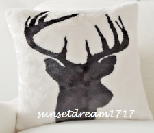 "Pottery Barn Christmas Faux Fur Stag Printed Pillow Cover, 18"", Ivory/Gray"