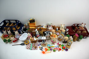 Huge Calico Critters Lot Sylvanian Epoch Furniture Figures Access. - 120pc Total