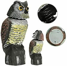 Owl Decoy to Scare Birds Away, Fake Owl Statues with Flashing Eyes & Scary Sound